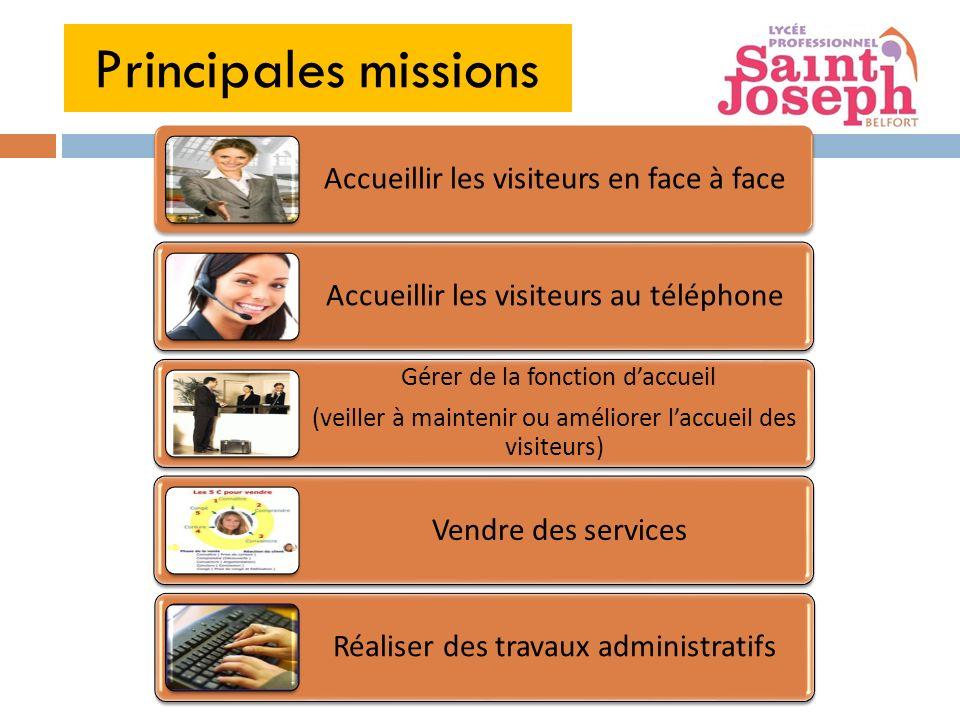 Principales missions Accueillir les visiteurs en face à face Accueillir les visiteurs au téléphone Gérer de la fonction daccueil (veiller à maintenir