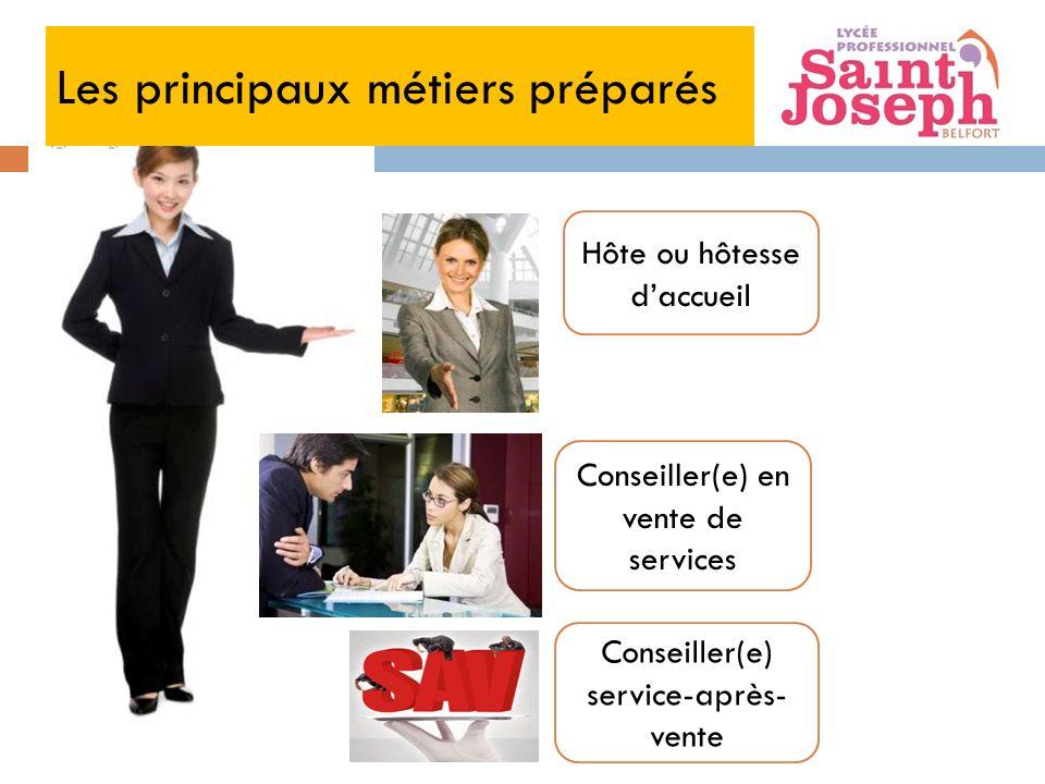 Les principaux métiers préparés Hôte ou hôtesse daccueil Conseiller(e) en vente de services Conseiller(e) service-après- vente