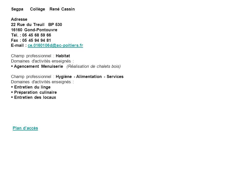 Segpa Collège René Cassin Adresse 22 Rue du Treuil BP 530 16160 Gond-Pontouvre Tél. : 05 45 68 59 66 Fax : 05 45 94 94 81 E-mail : ce.0160106d@ac-poit