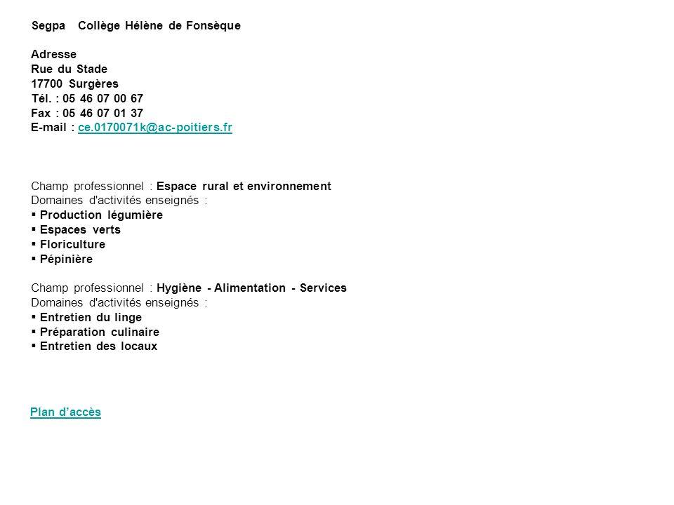 Segpa Collège Hélène de Fonsèque Adresse Rue du Stade 17700 Surgères Tél. : 05 46 07 00 67 Fax : 05 46 07 01 37 E-mail : ce.0170071k@ac-poitiers.fr Ch