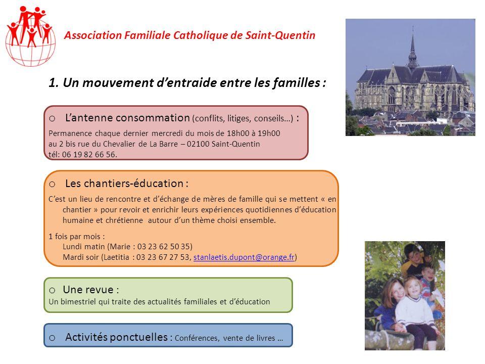 Association Familiale Catholique de Saint-Quentin 1.Un mouvement dentraide entre les familles : o Lantenne consommation (conflits, litiges, conseils…)