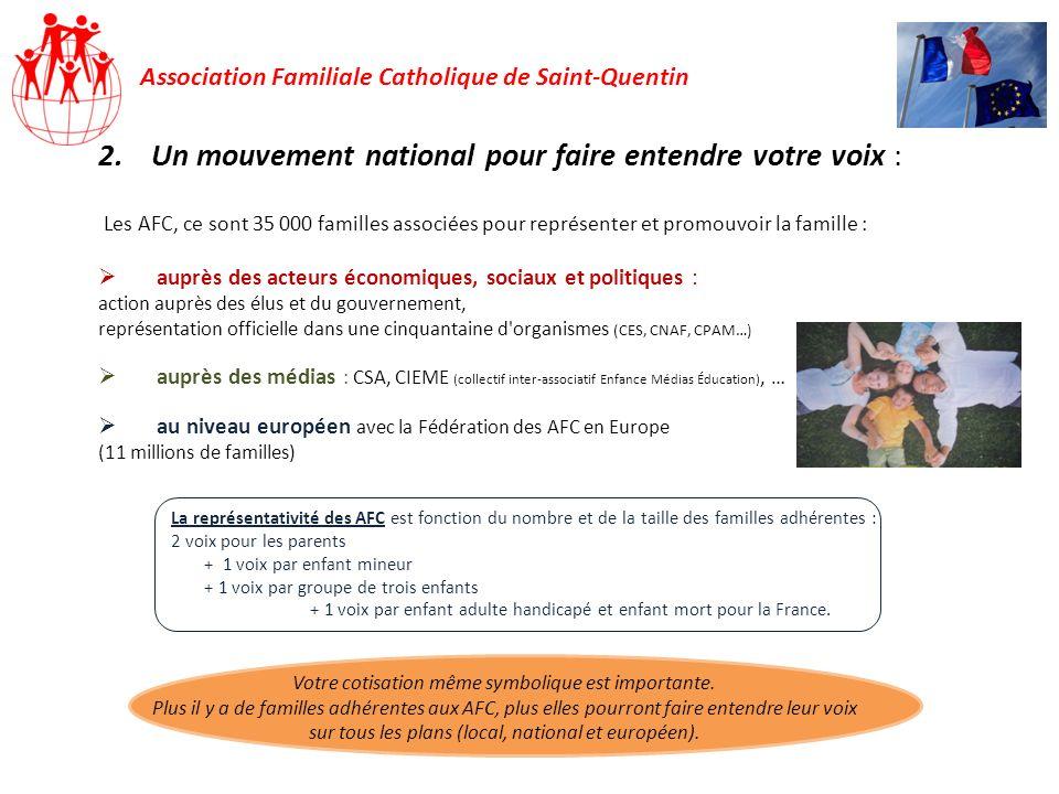 Association Familiale Catholique de Saint-Quentin 2.Un mouvement national pour faire entendre votre voix : Les AFC, ce sont 35 000 familles associées