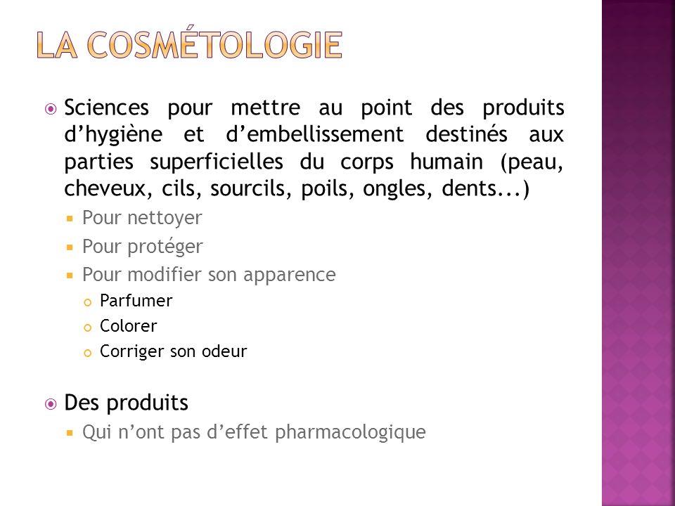 Sciences pour mettre au point des produits dhygiène et dembellissement destinés aux parties superficielles du corps humain (peau, cheveux, cils, sourc