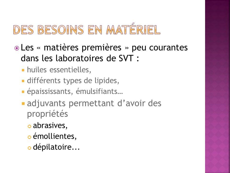 Les « matières premières » peu courantes dans les laboratoires de SVT : huiles essentielles, différents types de lipides, épaississants, émulsifiants…