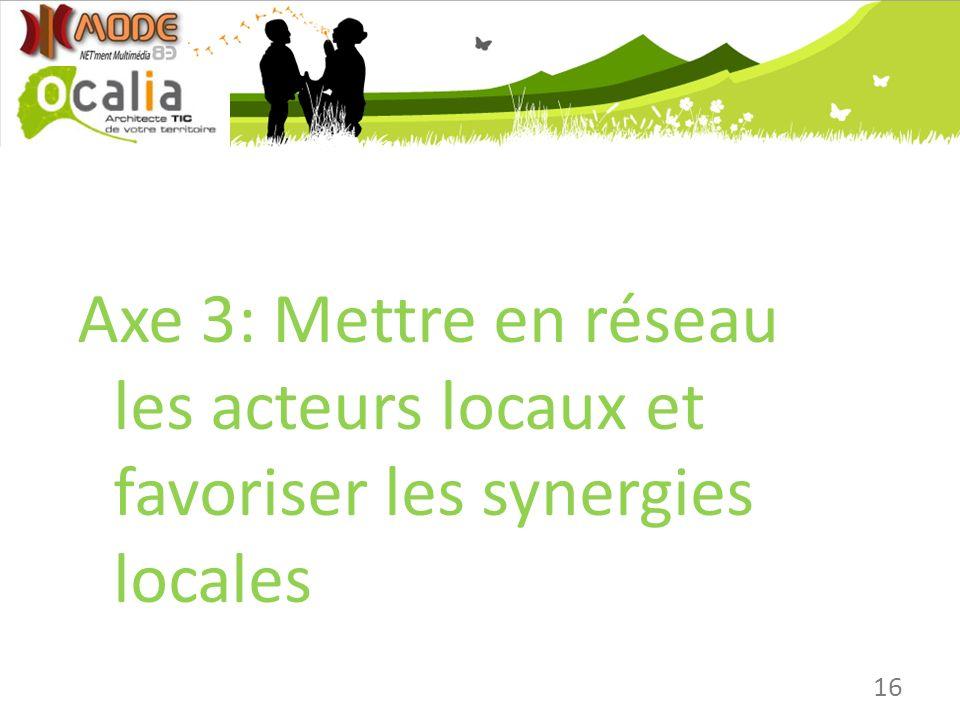 16 Axe 3: Mettre en réseau les acteurs locaux et favoriser les synergies locales