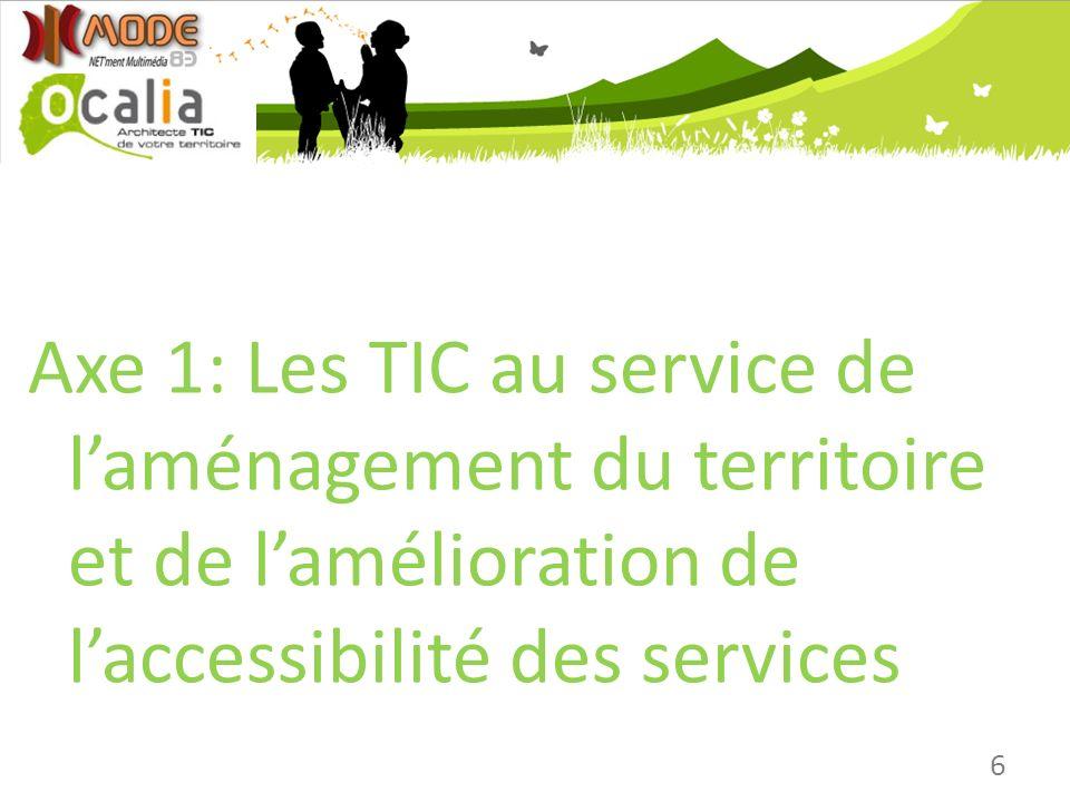 6 Axe 1: Les TIC au service de laménagement du territoire et de lamélioration de laccessibilité des services