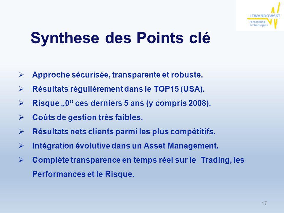 Synthese des Points clé 17 Approche sécurisée, transparente et robuste.