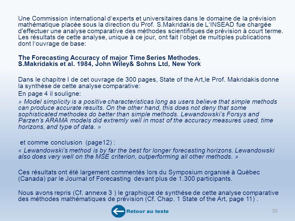 Une Commission international dexperts et universitaires dans le domaine de la prévision mathématique placée sous la direction du Prof.