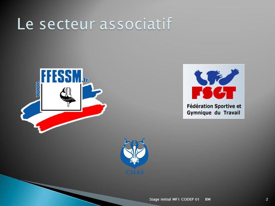 BMStage initial MF1 CODEP 013 FFESSM (Fédération Française d Etudes et de Sports Sous Marins).