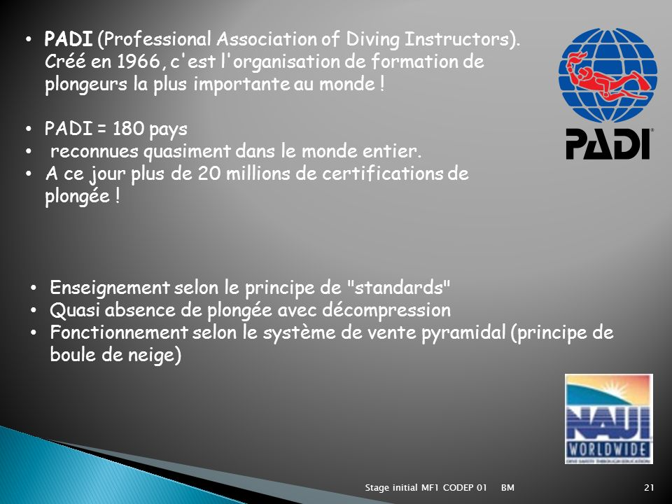BMStage initial MF1 CODEP 0121 PADI (Professional Association of Diving Instructors). Créé en 1966, c'est l'organisation de formation de plongeurs la