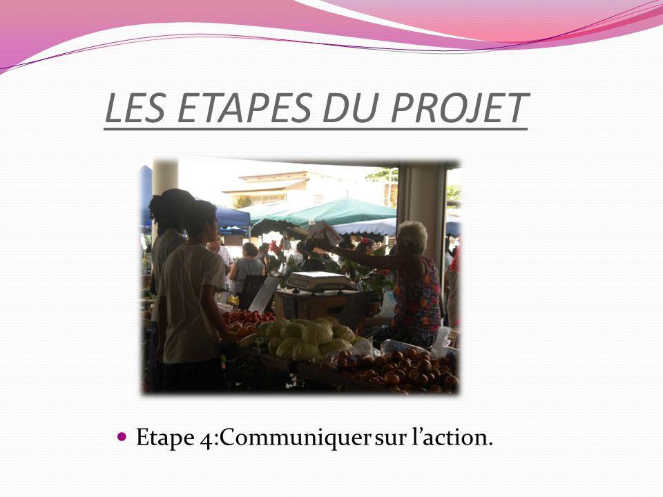 LES ETAPES DU PROJET Etape 4:Communiquer sur laction.