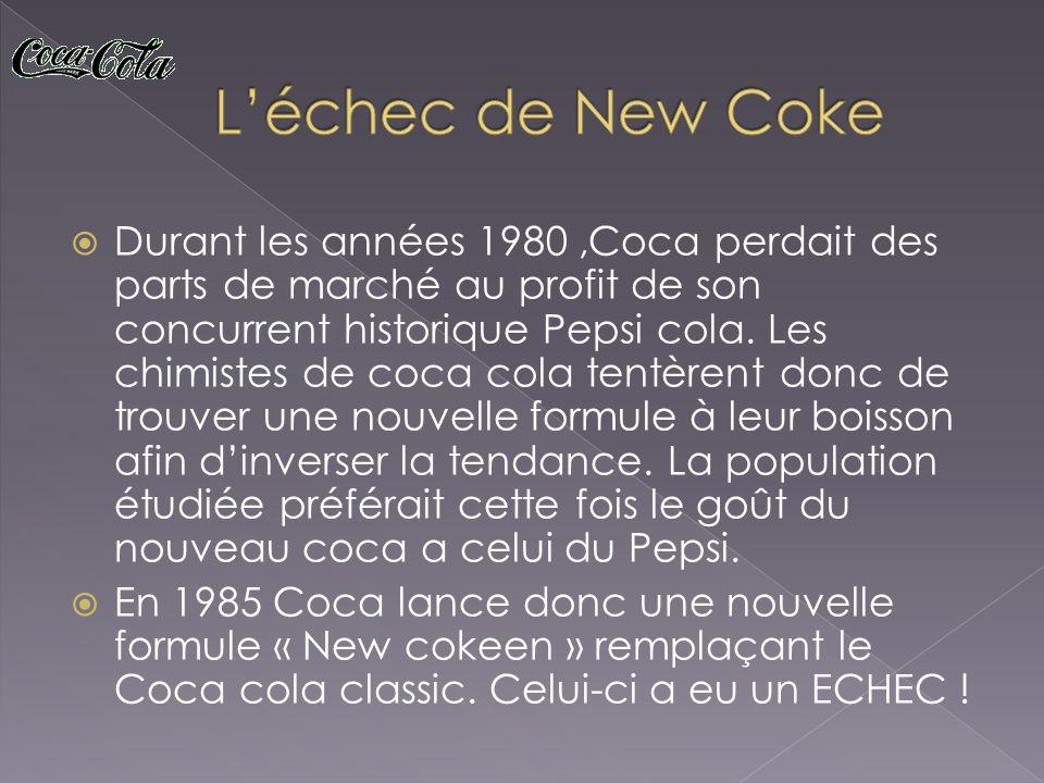 Durant les années 1980,Coca perdait des parts de marché au profit de son concurrent historique Pepsi cola. Les chimistes de coca cola tentèrent donc d