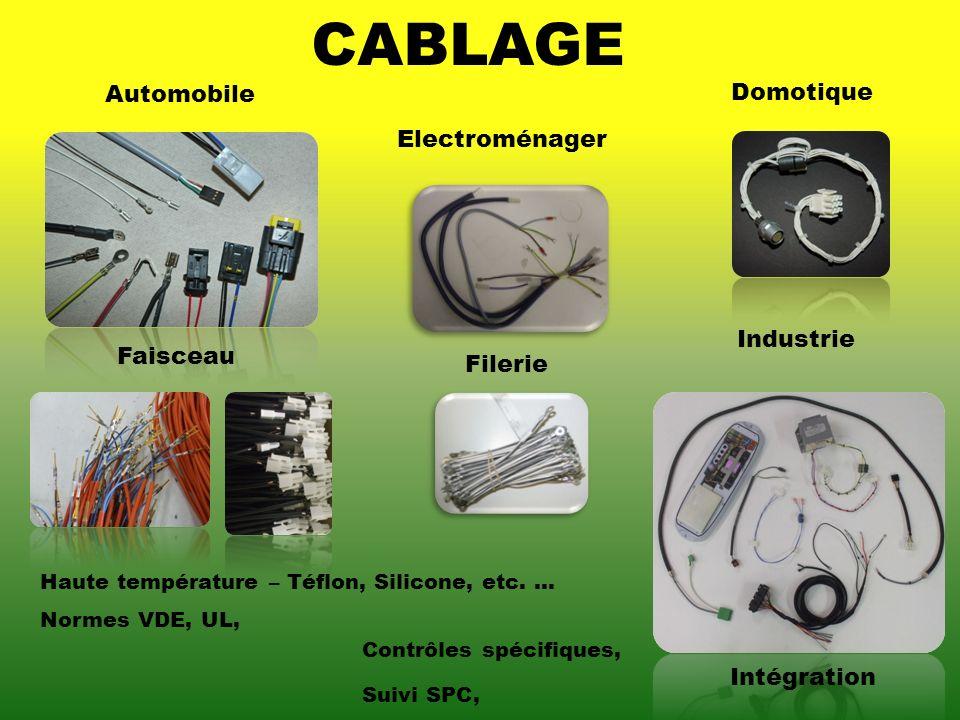 CABLAGE Automobile Industrie Intégration Domotique Electroménager Haute température – Téflon, Silicone, etc.... Normes VDE, UL, Contrôles spécifiques,