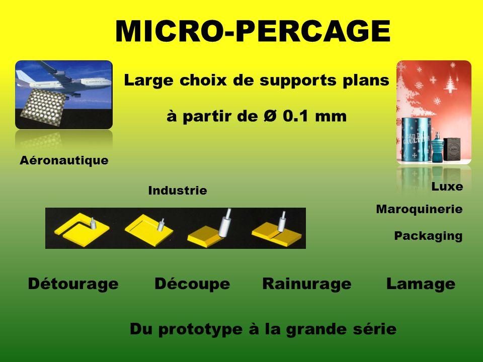 MICRO-PERCAGE RainurageLamage à partir de Ø 0.1 mm Du prototype à la grande série Large choix de supports plans Aéronautique Maroquinerie Packaging In