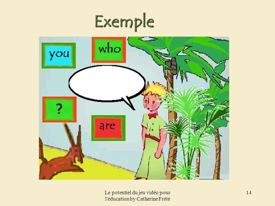 Le potentiel du jeu vidéo pour l'éducation by Catherine Frété 14 Exemple