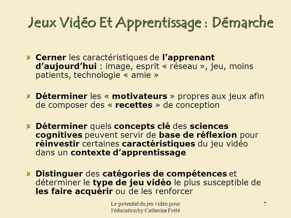 Le potentiel du jeu vidéo pour l'éducation by Catherine Frété 7 Jeux Vidéo Et Apprentissage : Démarche Cerner les caractéristiques de lapprenant daujo
