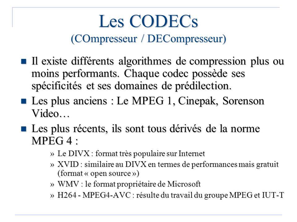 Les CODECs (COmpresseur / DECompresseur) Il existe différents algorithmes de compression plus ou moins performants. Chaque codec possède ses spécifici