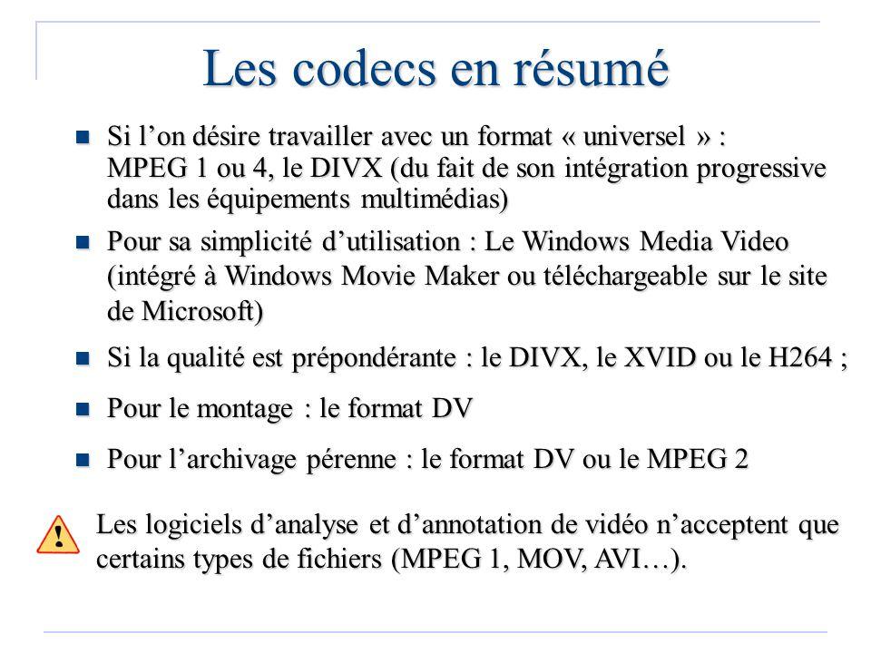Les codecs en résumé Si lon désire travailler avec un format « universel » : MPEG 1 ou 4, le DIVX (du fait de son intégration progressive dans les équ