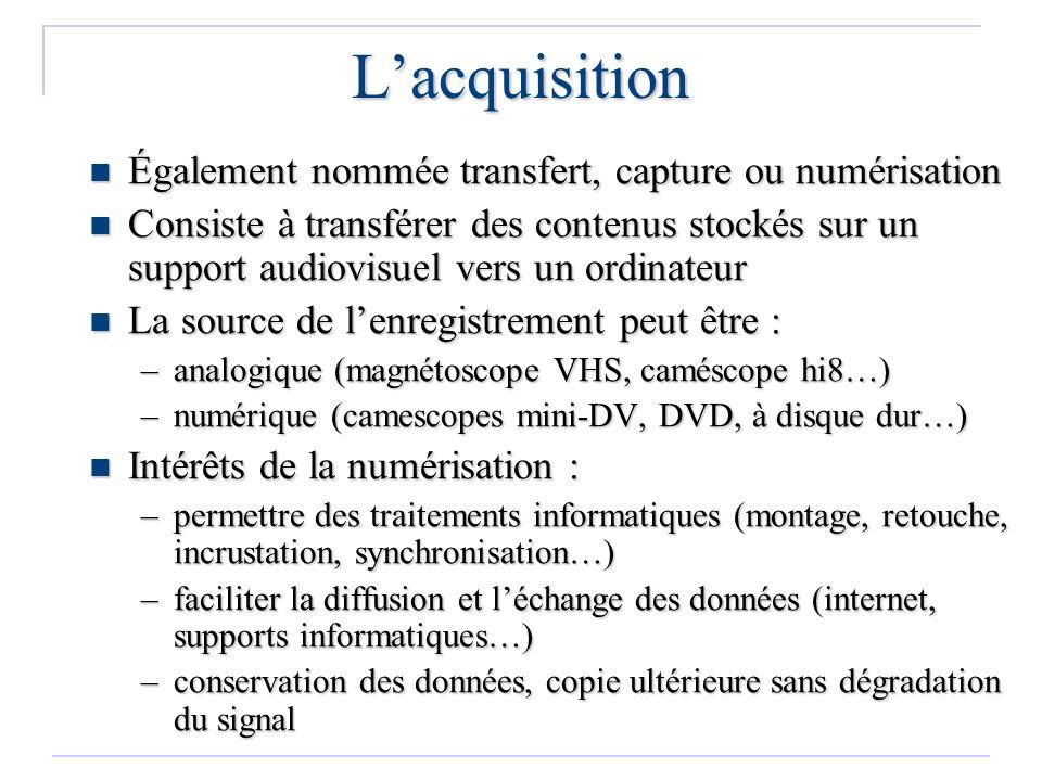 Lacquisition Également nommée transfert, capture ou numérisation Également nommée transfert, capture ou numérisation Consiste à transférer des contenu