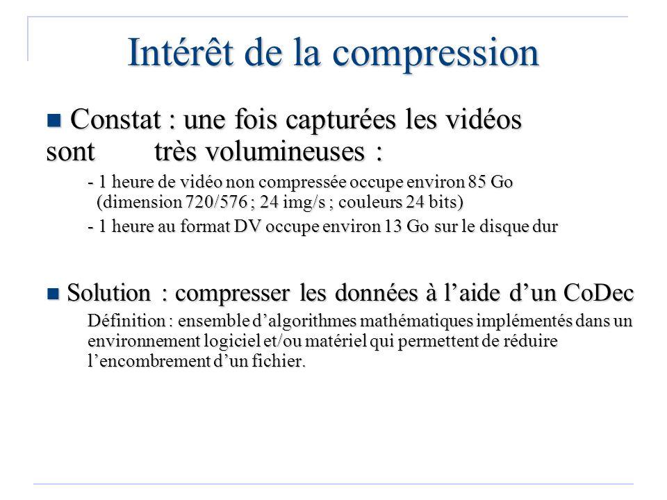 Intérêt de la compression Constat : une fois capturées les vidéos sont très volumineuses : Constat : une fois capturées les vidéos sont très volumineu