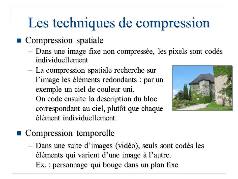 Les techniques de compression –La compression spatiale recherche sur limage les éléments redondants : par un exemple un ciel de couleur uni. On code e
