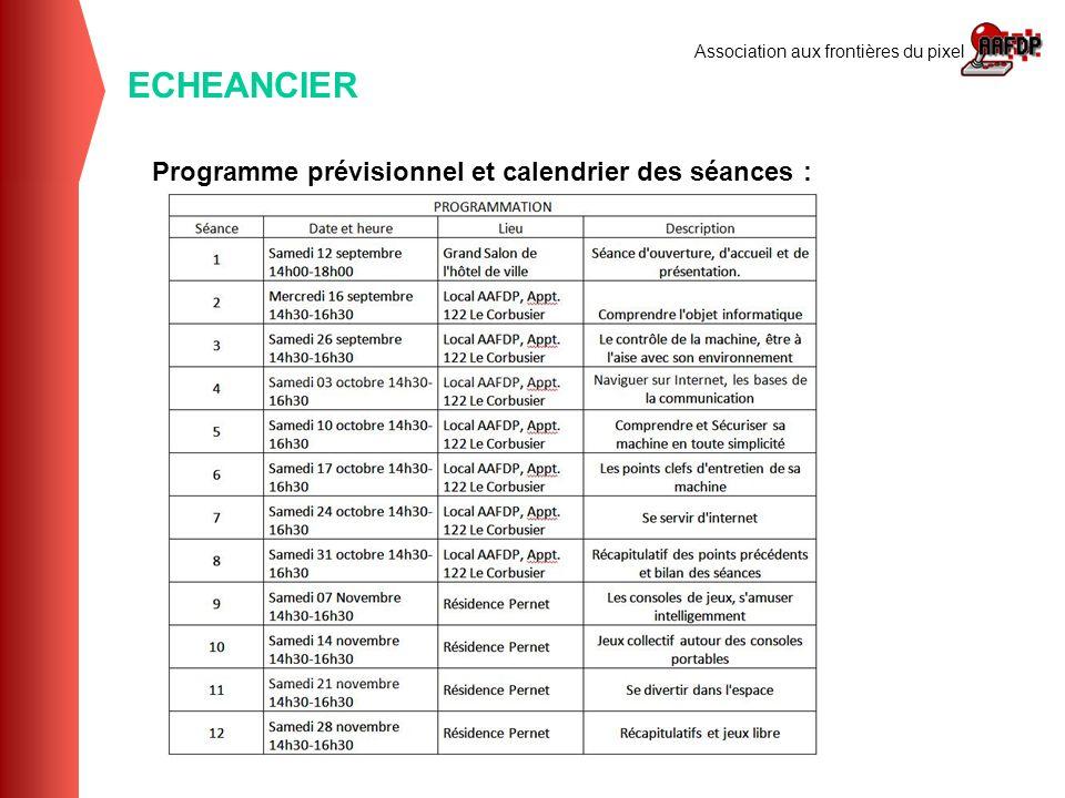 Association aux frontières du pixel ECHEANCIER Programme prévisionnel et calendrier des séances :