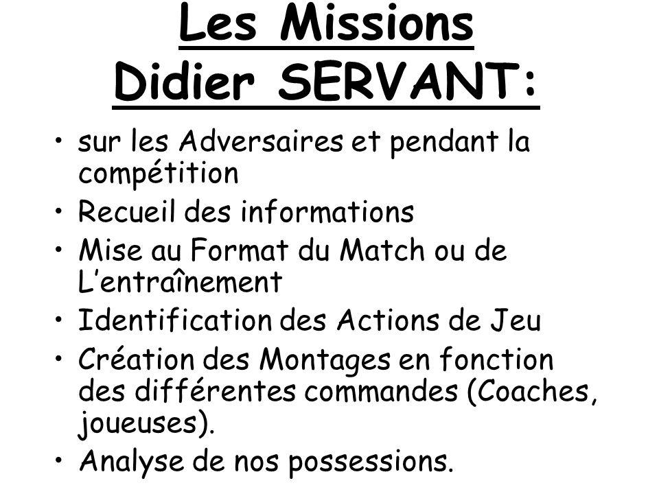 Les Missions Didier SERVANT: sur les Adversaires et pendant la compétition Recueil des informations Mise au Format du Match ou de Lentraînement Identi