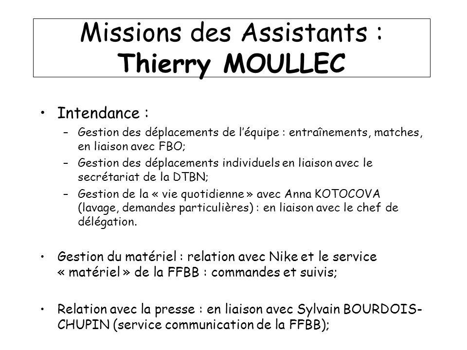 Missions des Assistants : Thierry MOULLEC Intendance : –Gestion des déplacements de léquipe : entraînements, matches, en liaison avec FBO; –Gestion de