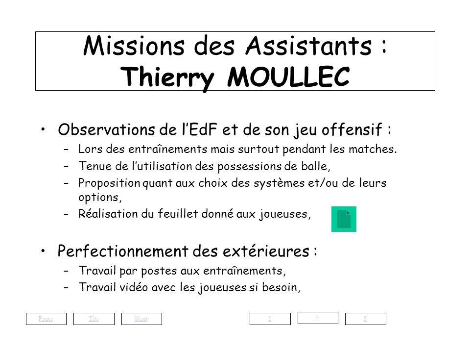 Missions des Assistants : Thierry MOULLEC Observations de lEdF et de son jeu offensif : –Lors des entraînements mais surtout pendant les matches. –Ten