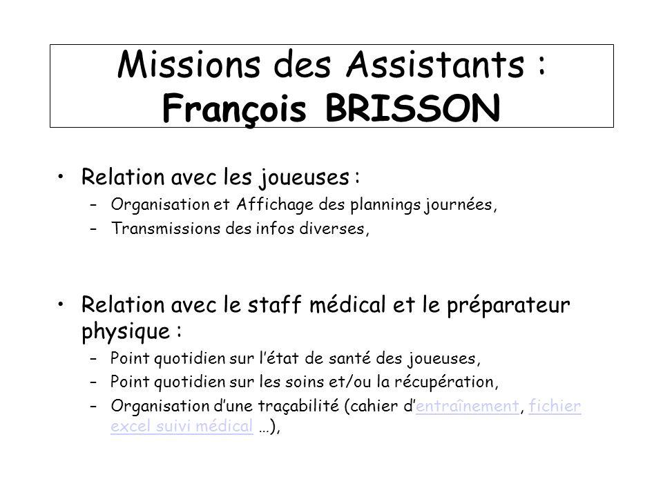 Missions des Assistants : François BRISSON Relation avec les joueuses : –Organisation et Affichage des plannings journées, –Transmissions des infos di