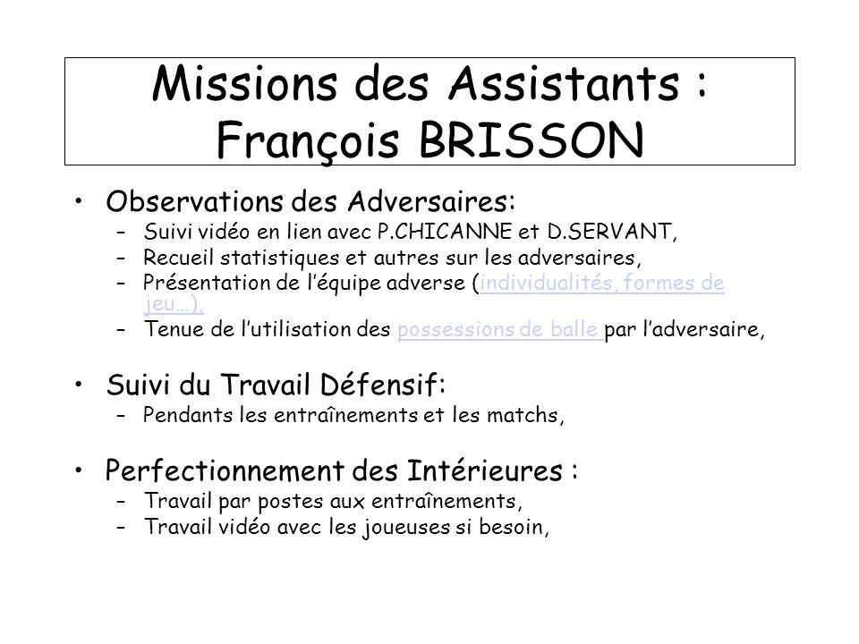 Missions des Assistants : François BRISSON Observations des Adversaires: –Suivi vidéo en lien avec P.CHICANNE et D.SERVANT, –Recueil statistiques et a