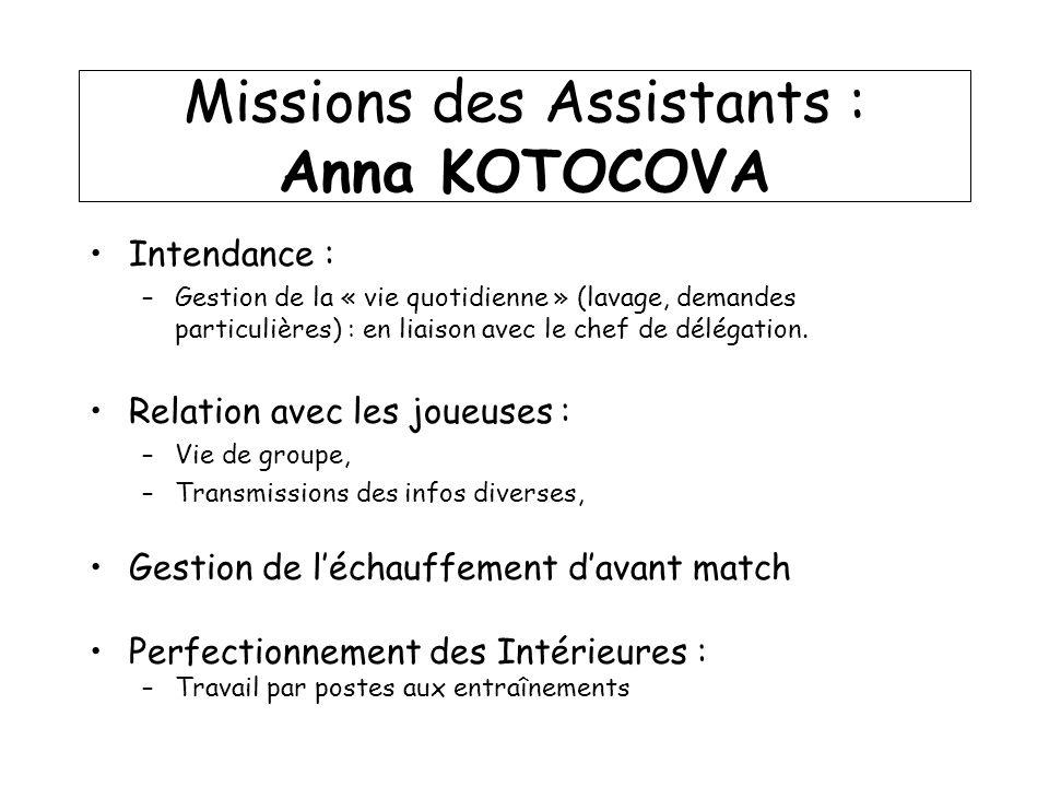 Missions des Assistants : Anna KOTOCOVA Intendance : –Gestion de la « vie quotidienne » (lavage, demandes particulières) : en liaison avec le chef de