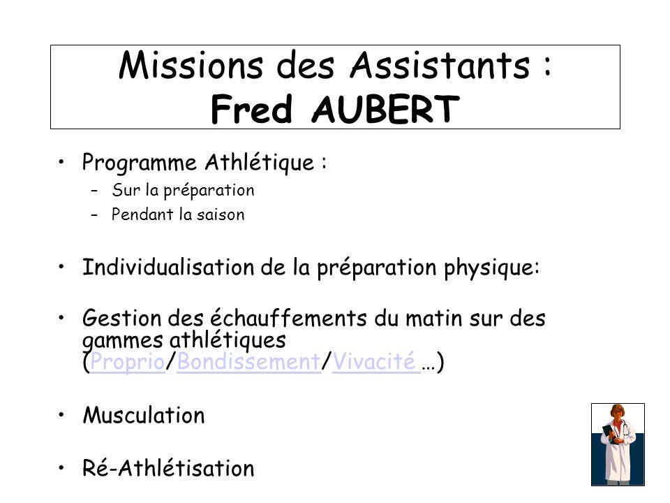 Missions des Assistants : Fred AUBERT Programme Athlétique : –Sur la préparation –Pendant la saison Individualisation de la préparation physique: Gest