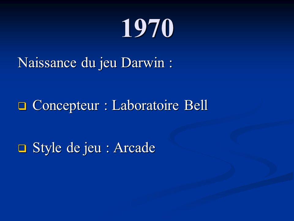 1970 Naissance du jeu Darwin : Concepteur : Laboratoire Bell Concepteur : Laboratoire Bell Style de jeu : Arcade Style de jeu : Arcade
