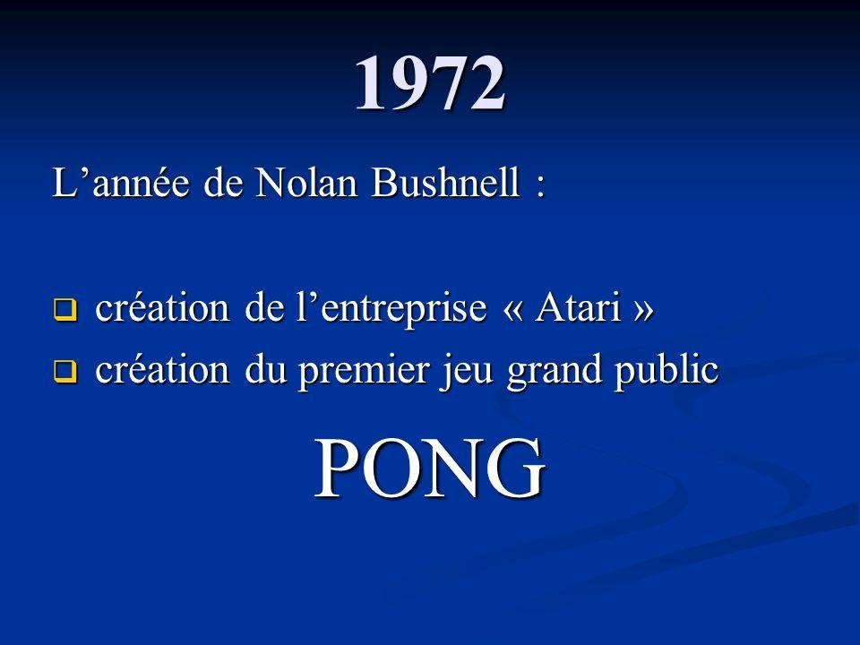 1972 Lannée de Nolan Bushnell : création de lentreprise « Atari » création de lentreprise « Atari » création du premier jeu grand public création du p