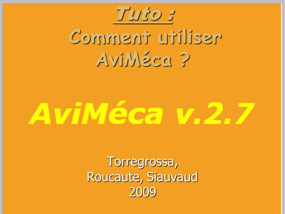 Tuto : Comment utiliser AviMéca ? Torregrossa, Roucaute, Siauvaud 2009