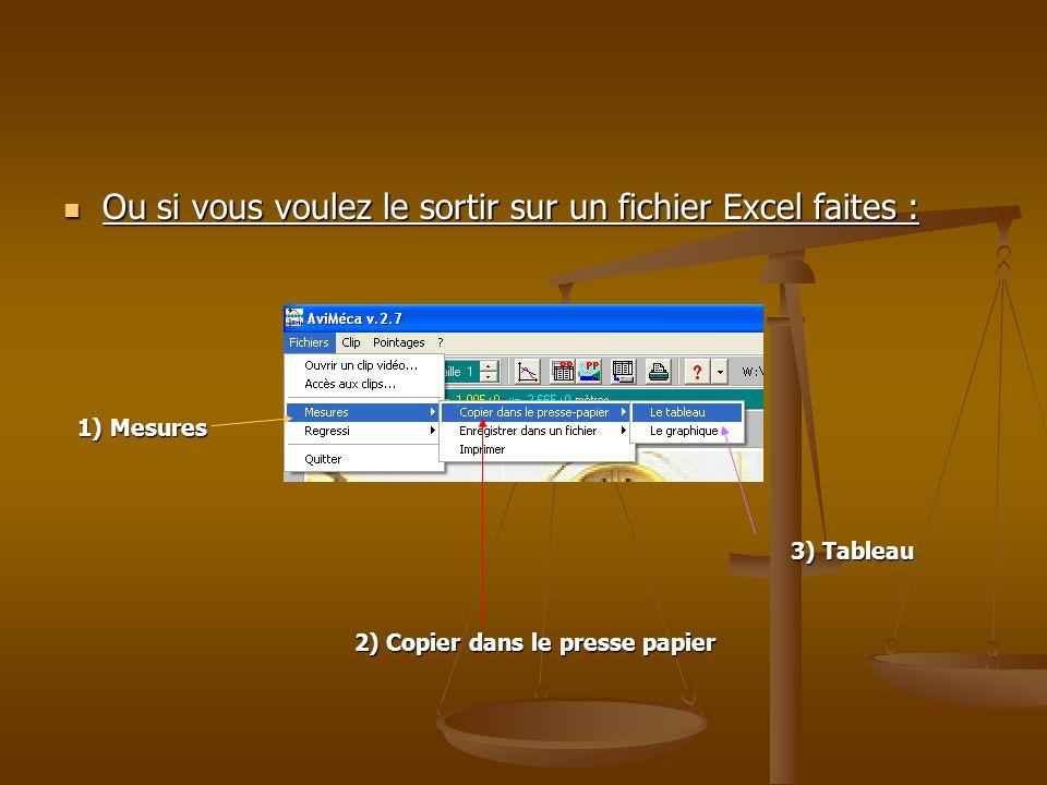 Ou si vous voulez le sortir sur un fichier Excel faites : Ou si vous voulez le sortir sur un fichier Excel faites : 1) Mesures 1) Mesures 3) Tableau 3