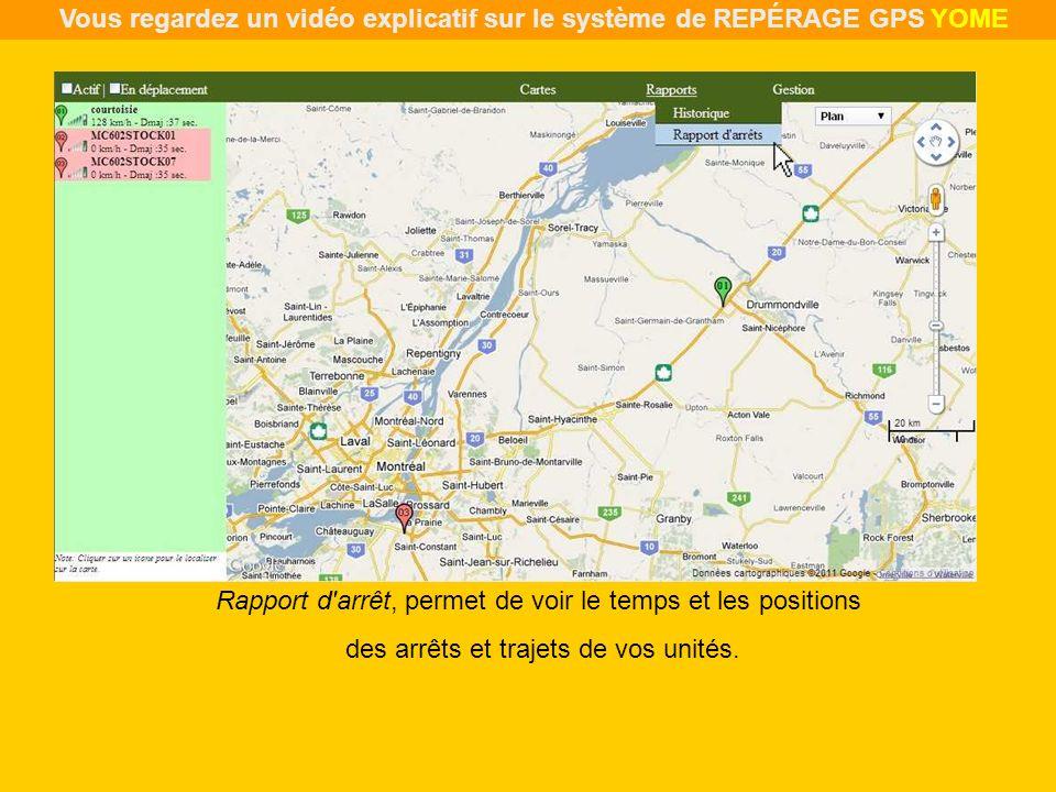 Rapport d'arrêt, permet de voir le temps et les positions des arrêts et trajets de vos unités. Vous regardez un vidéo explicatif sur le système de REP