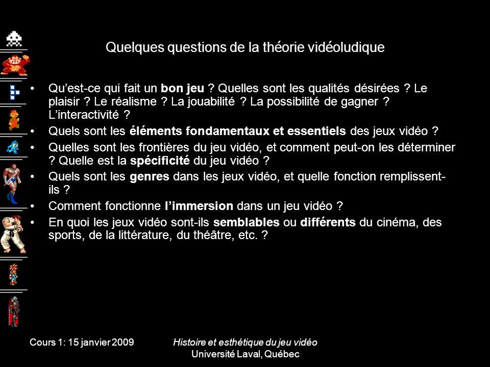 Cours 1: 15 janvier 2009Histoire et esthétique du jeu vidéo Université Laval, Québec Principaux champs détude Jeux vidéoLe design --------- de jeux -------- La réception des jeux Le jeu vidéo comme phénomène social Le jeu vidéo comme phénomène culturel Le jeu vidéo comme phénomène esthétique |