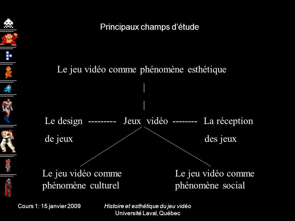 Cours 1: 15 janvier 2009Histoire et esthétique du jeu vidéo Université Laval, Québec Principaux champs détude Jeux vidéoLe design --------- de jeux --