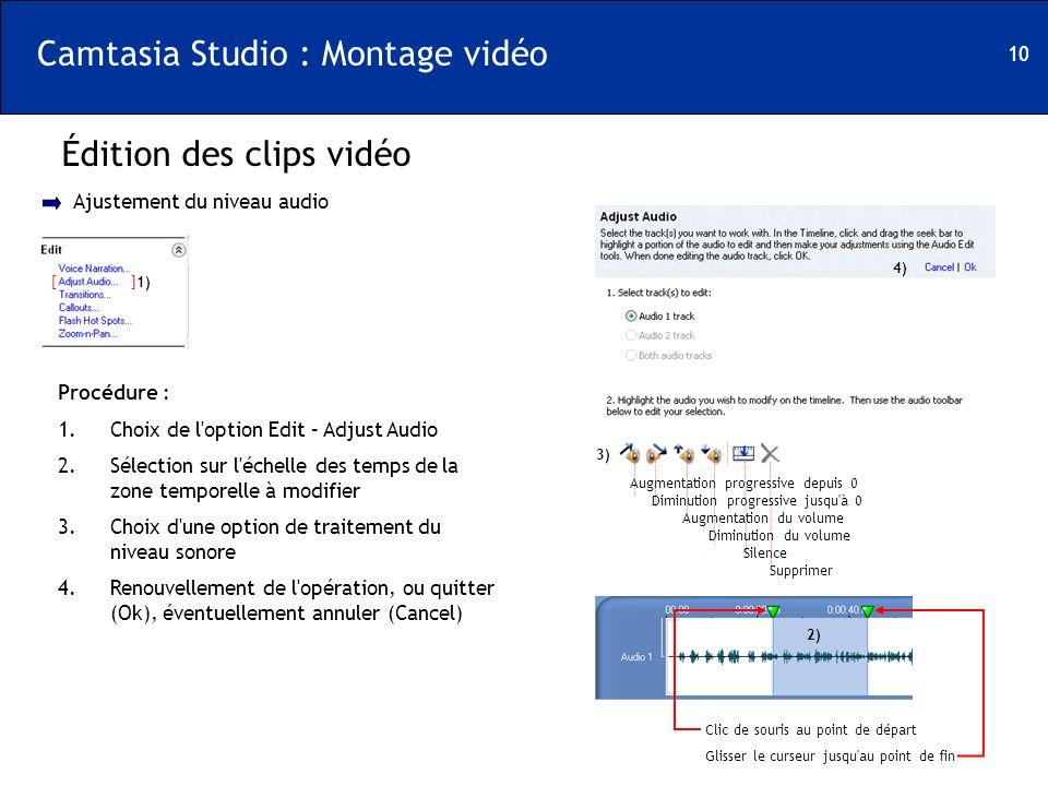 10 Camtasia Studio : Montage vidéo Édition des clips vidéo [ ] Ajustement du niveau audio 1) Procédure : 1.Choix de l'option Edit – Adjust Audio 2.Sél