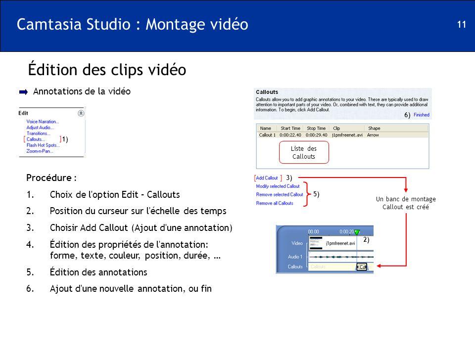 11 Camtasia Studio : Montage vidéo Édition des clips vidéo [ ] Annotations de la vidéo 1) Procédure : 1.Choix de l'option Edit – Callouts 2.Position d