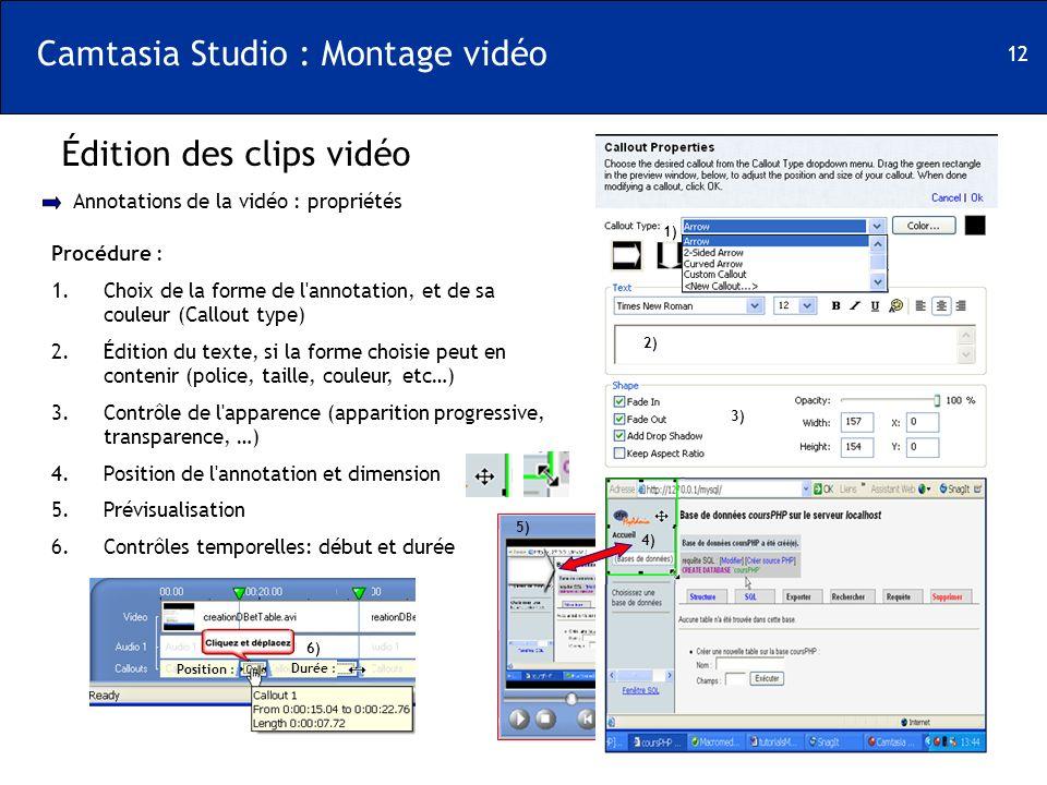 12 Camtasia Studio : Montage vidéo Édition des clips vidéo Annotations de la vidéo : propriétés Procédure : 1.Choix de la forme de l'annotation, et de