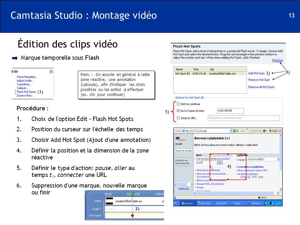 13 Camtasia Studio : Montage vidéo Édition des clips vidéo [ ] Marque temporelle sous Flash 1) Procédure : 1.Choix de l'option Edit – Flash Hot Spots