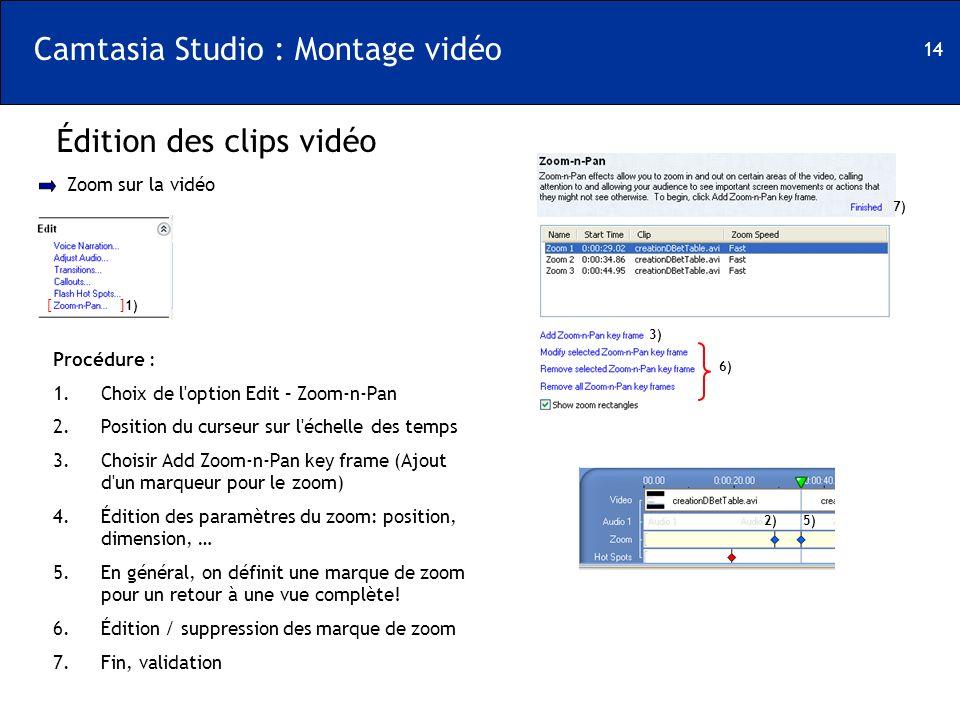 14 Camtasia Studio : Montage vidéo Édition des clips vidéo [ ] Zoom sur la vidéo 1) Procédure : 1.Choix de l'option Edit – Zoom-n-Pan 2.Position du cu