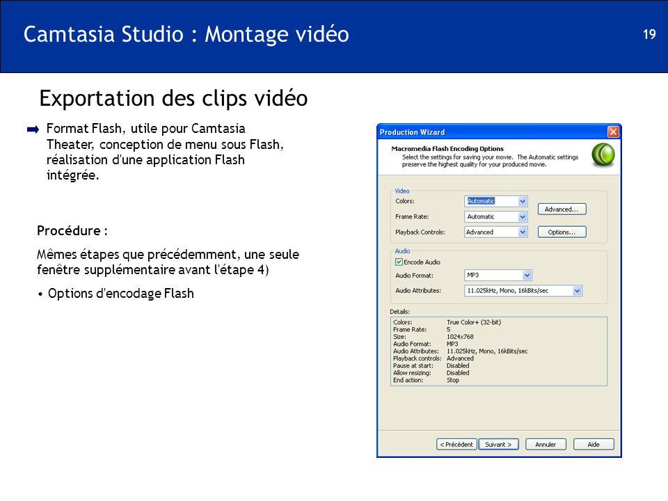 19 Camtasia Studio : Montage vidéo Exportation des clips vidéo Format Flash, utile pour Camtasia Theater, conception de menu sous Flash, réalisation d