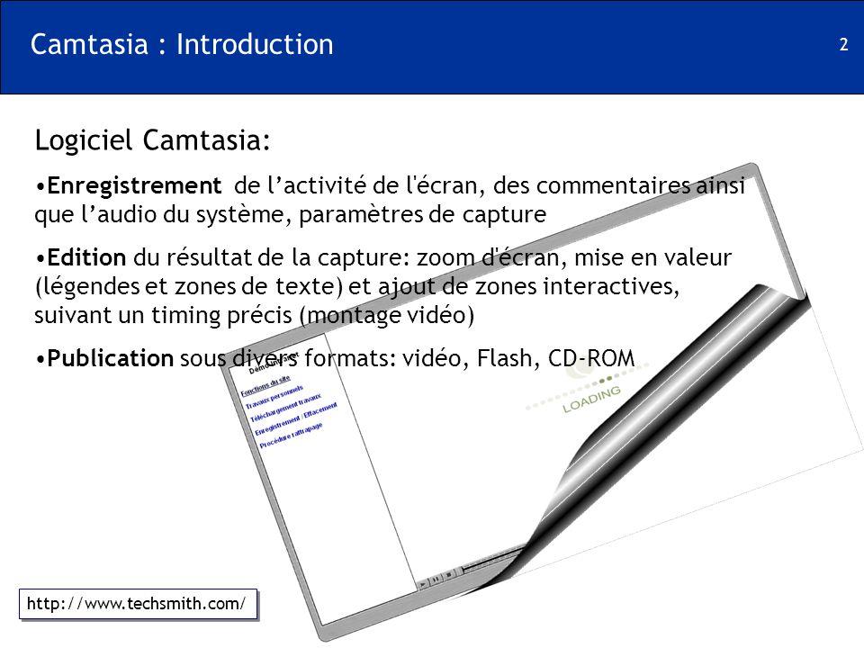 2 Camtasia : Introduction Logiciel Camtasia: Enregistrement de lactivité de l'écran, des commentaires ainsi que laudio du système, paramètres de captu