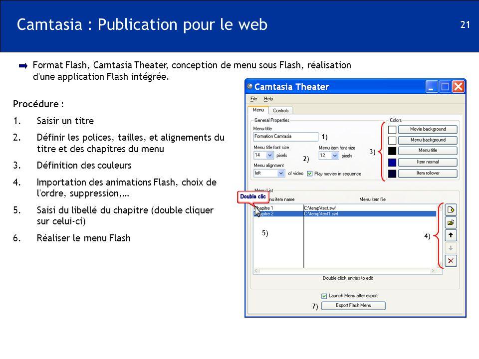 21 Camtasia : Publication pour le web Format Flash, Camtasia Theater, conception de menu sous Flash, réalisation d'une application Flash intégrée. Pro