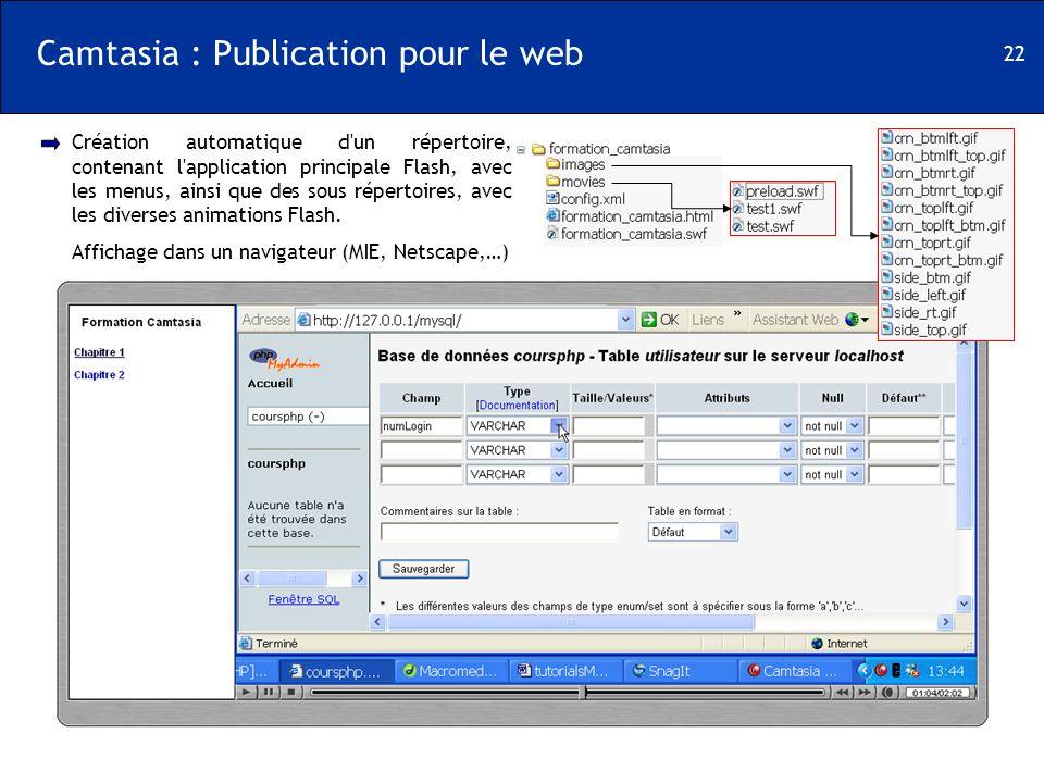 22 Camtasia : Publication pour le web Création automatique d'un répertoire, contenant l'application principale Flash, avec les menus, ainsi que des so