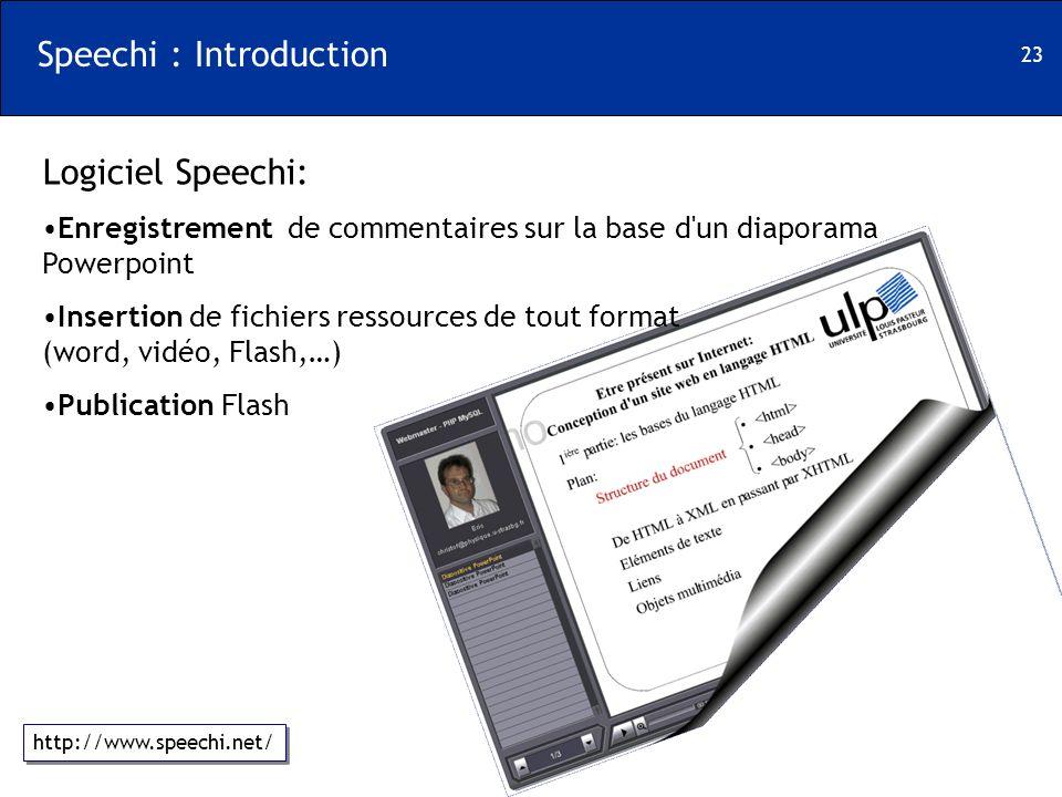 23 Speechi : Introduction Logiciel Speechi: Enregistrement de commentaires sur la base d'un diaporama Powerpoint Insertion de fichiers ressources de t